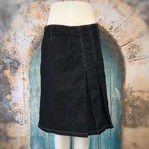 Bisou Bisou-Asymmetrical Pleated Denim Skirt